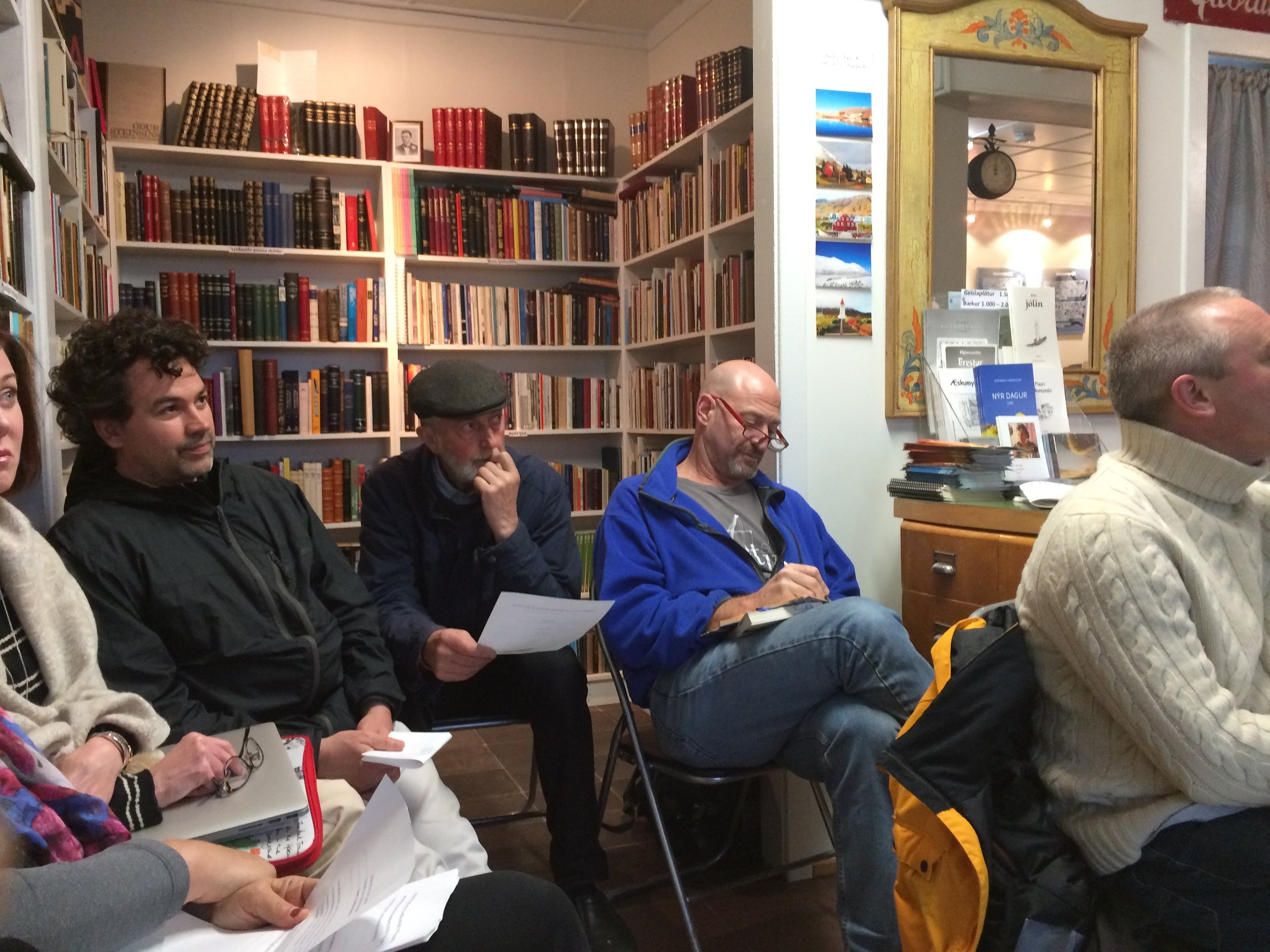Siglufjordur group at the Icelandic Poem Center where we gave readings with local poets