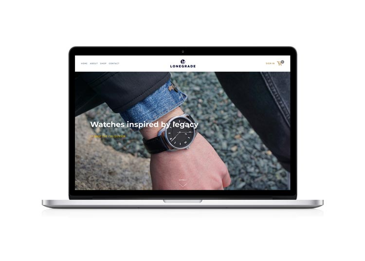 Lonegrade - Lonegrade builds watches in the USA. We designed the brand to reflect their mission, built an ecommerce store, and developed a branding and marketing strategy.View this project →