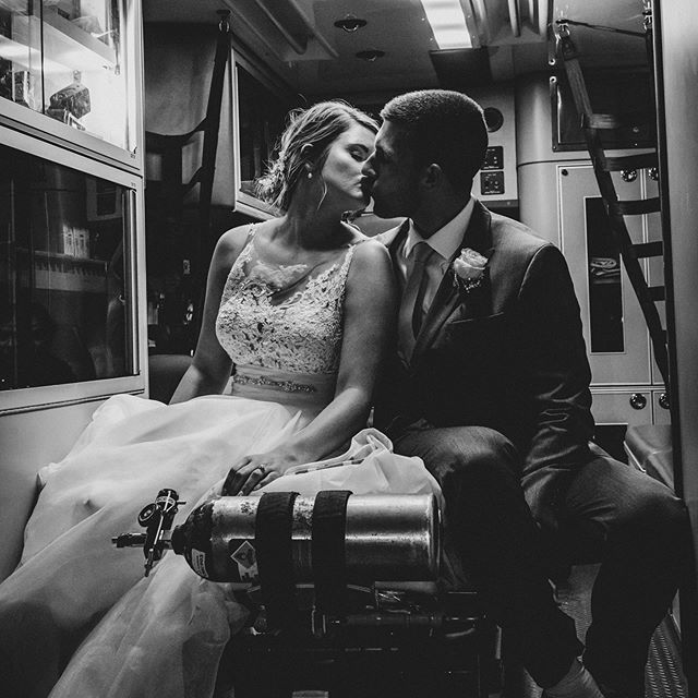 What more can we say. Love this moment. #priceless #timeless #brideandgroom #weddingmoments #kansasphotographer #bartelandwendlingphotography #kansascityweddingphotographer #couplesphotography #ambulance #wichitaphotographer #wichitawedding
