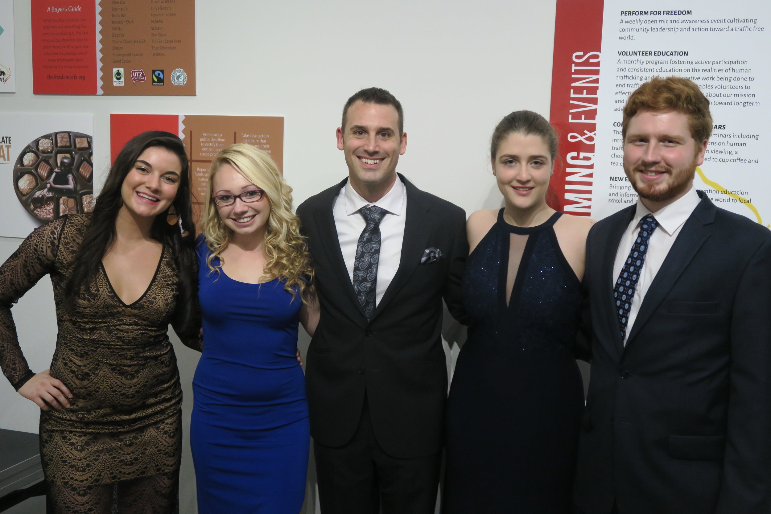 Shariss (Left) with members of The Freedom Café Student Outreach Team at our Fall 2016 Gala