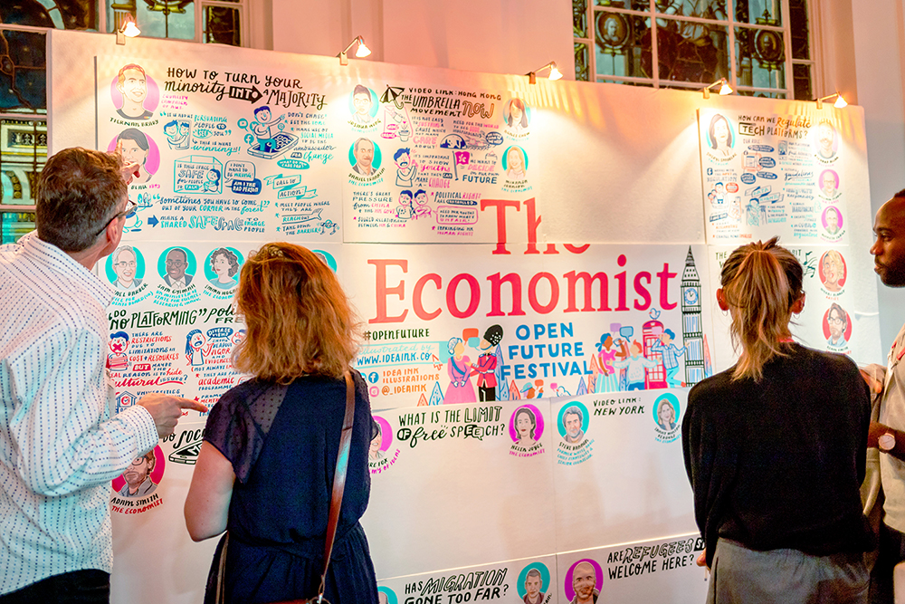 Graphic Recording london new york hongkong economist
