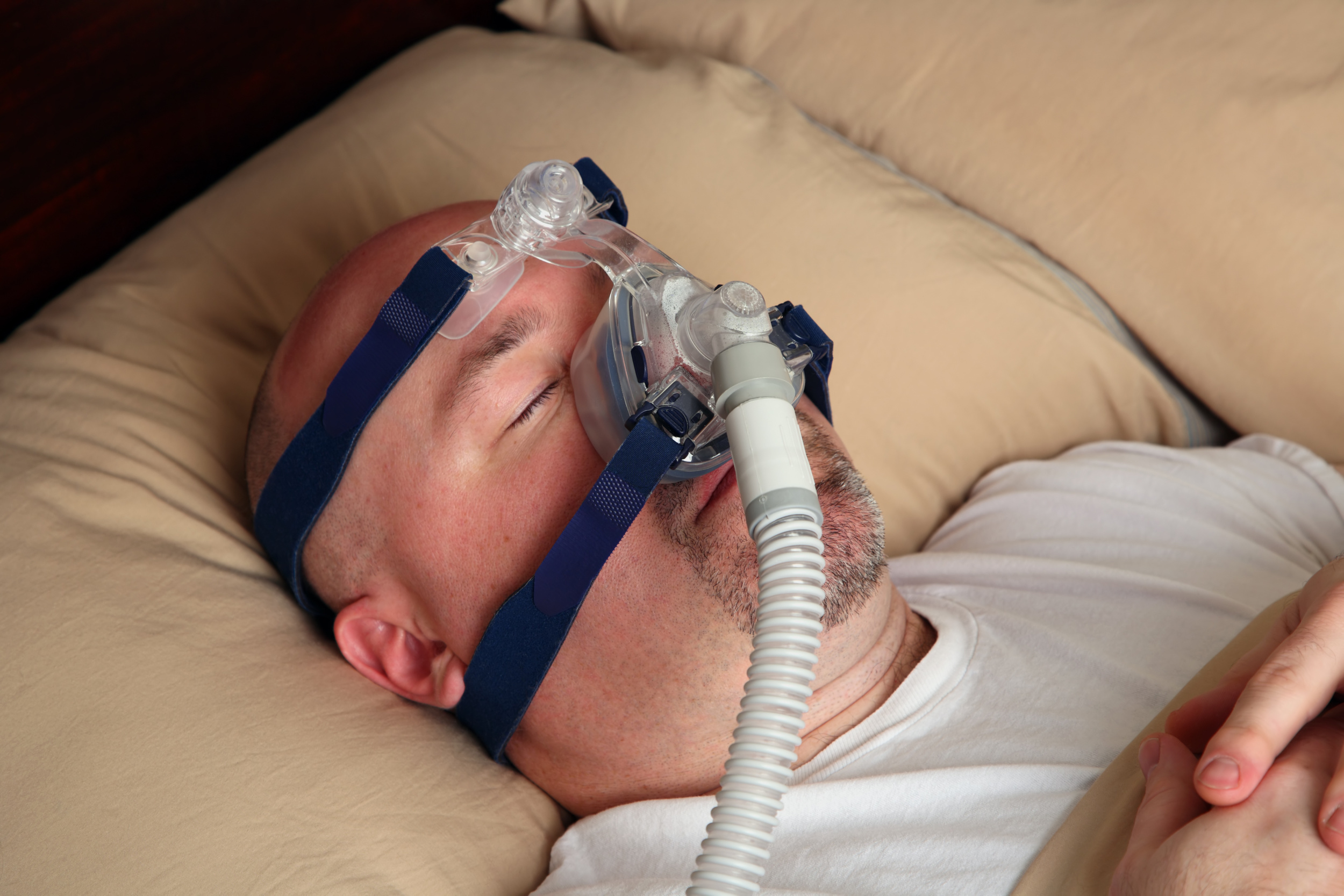 man wearing CPAP mask