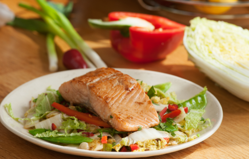 sizzling salmon and Chinese cabbage