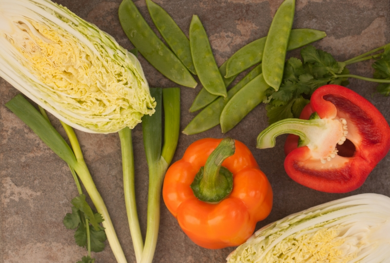 chinese cabbage, peppers, mangetout