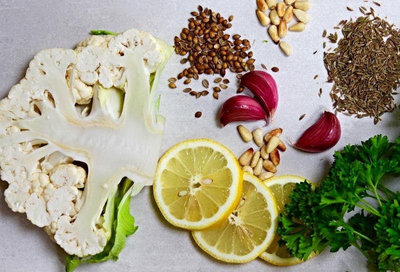 Cauliflower, garlic, coriander, cumin, lemon, toasted pinenuts and parsley