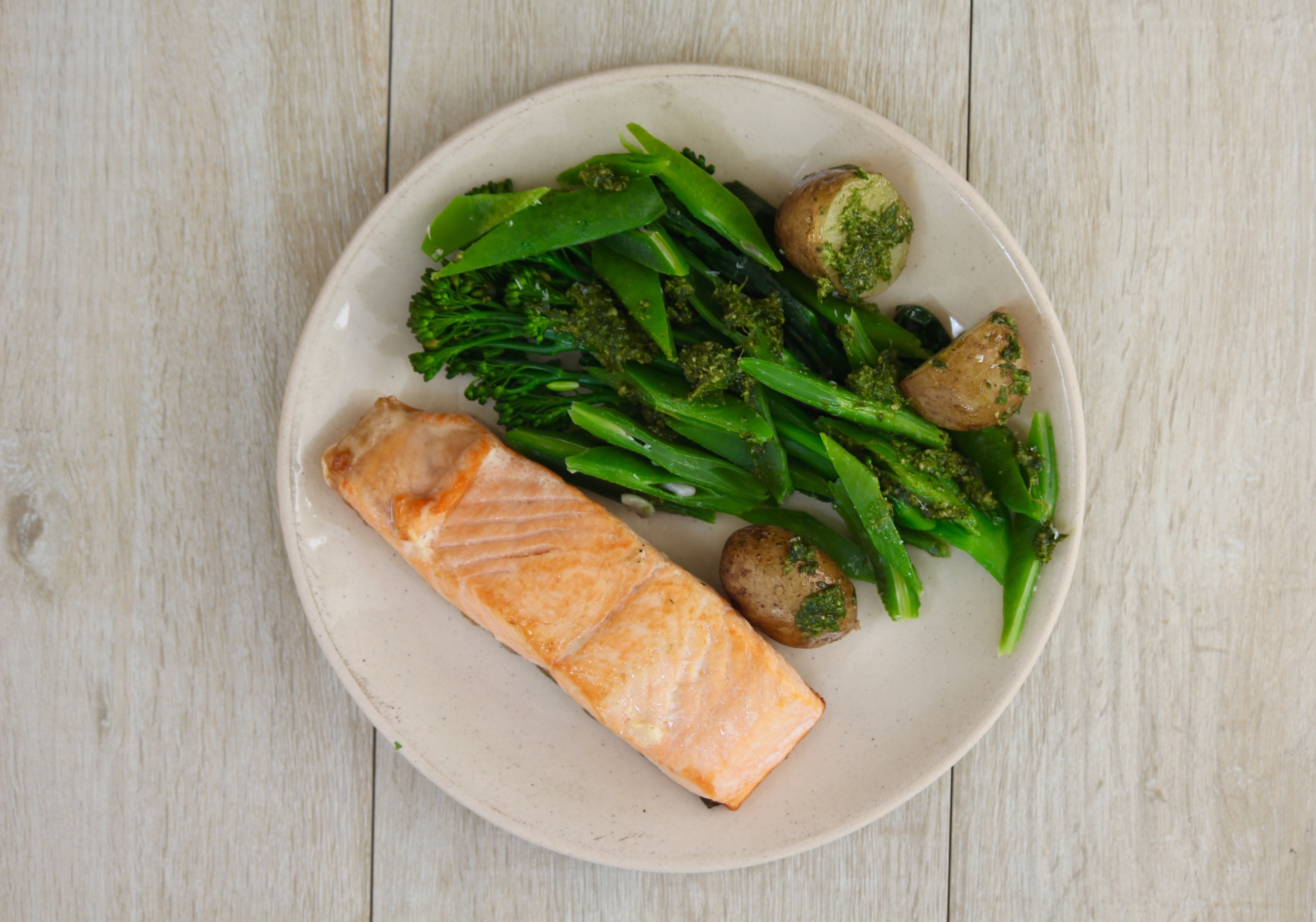 Pan-fried Salmon with New Potatoes, Runner Beans, Tender-stem Broccoli and Homemade Pesto