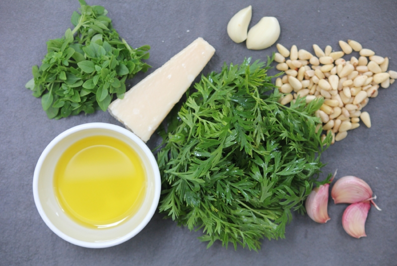 Carrot Tops, Basil, Pine nuts, Parmigiano-Reggiano, Garlic, Extra-virgin Olive Oil