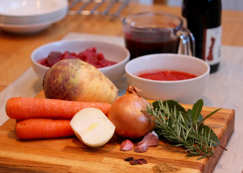Ingredients for beef and swede stew