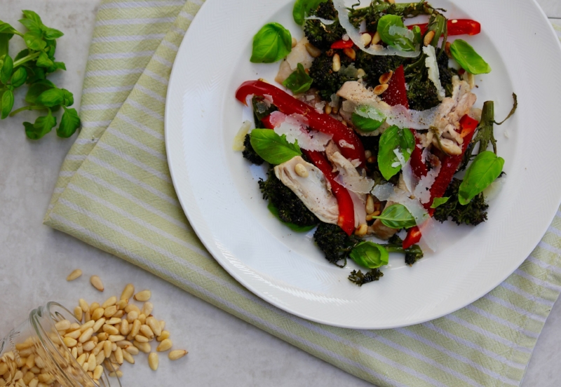 Purple-sprouting Broccoli with Roast Chicken Salad
