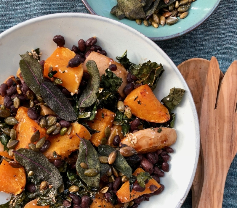 Black Beans with Roasted Squash, Toasted Kale and Sage