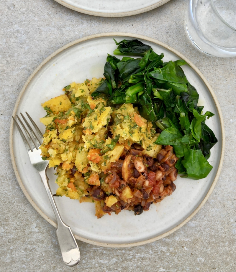 Black and Black-eyed Beans with Swede and Carrot Mash