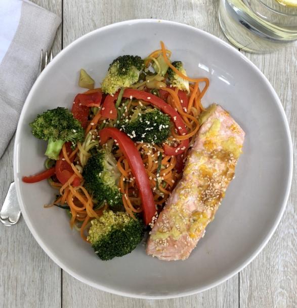 Rainbow Stir-Fry with Salmon