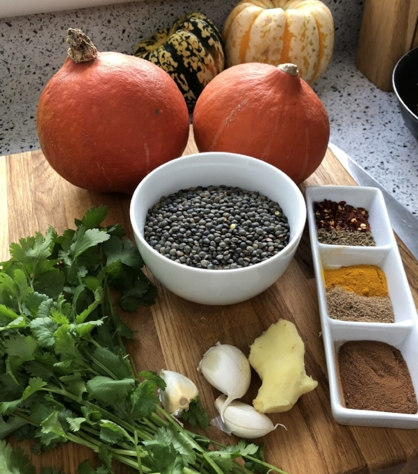 Ingredients for Stuffed Squash and Spicy Dhal