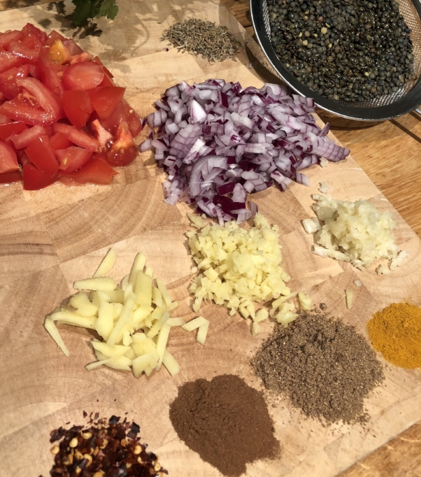 Veg chopped ready for Dhal