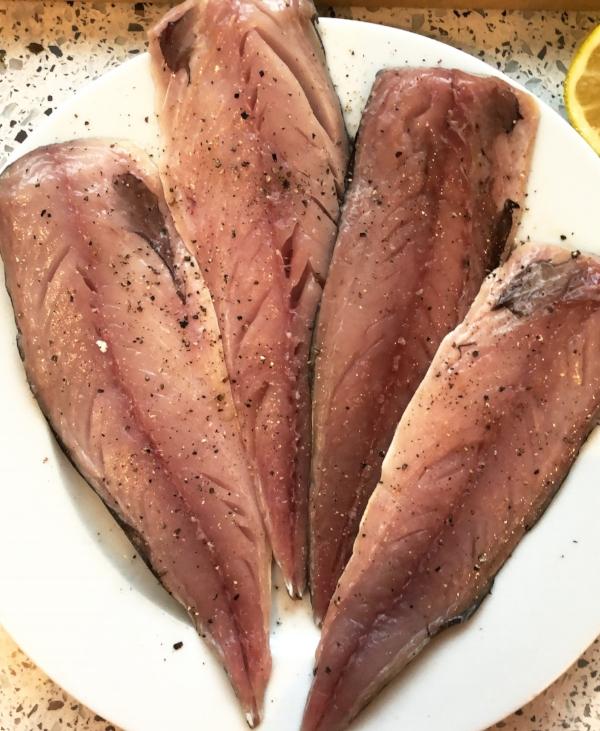 Mackerel fillets ready to pan fry