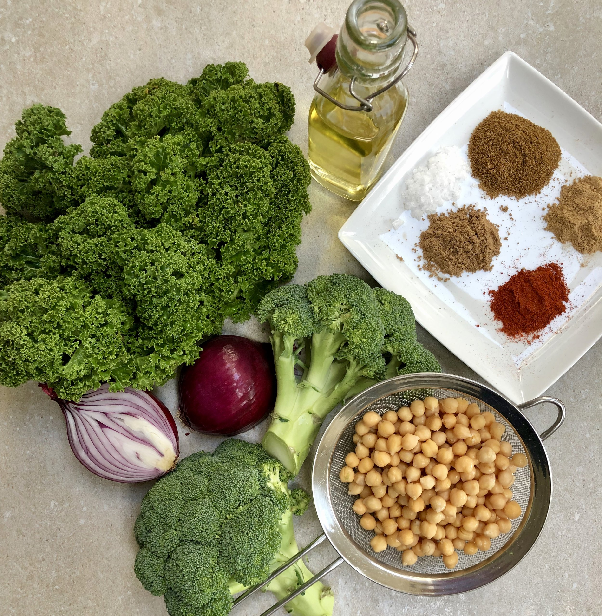Ingredients for Roasted Broccoli and Kale with Chickpeas