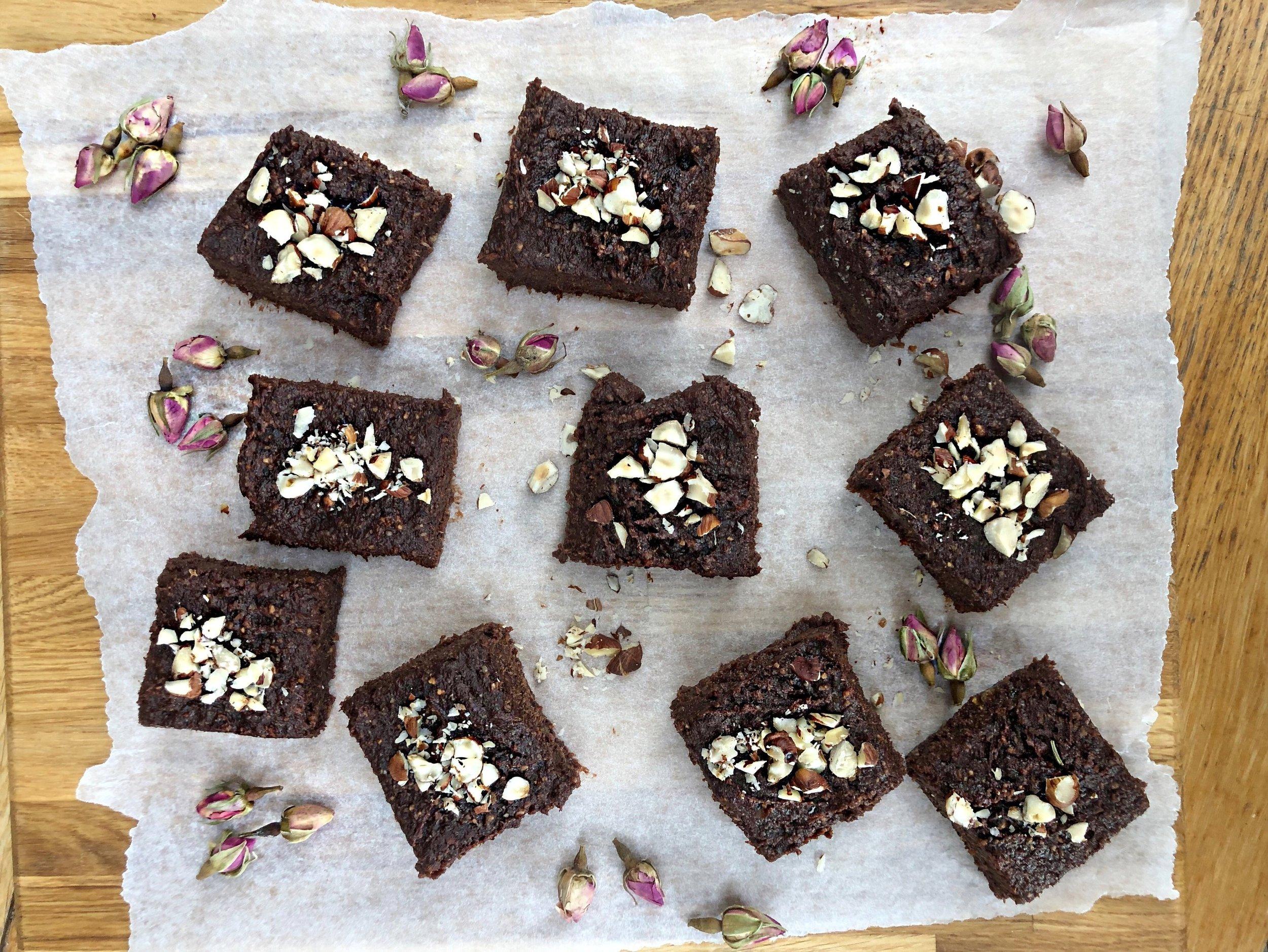 Gooey Date and Hazelnut Brownies