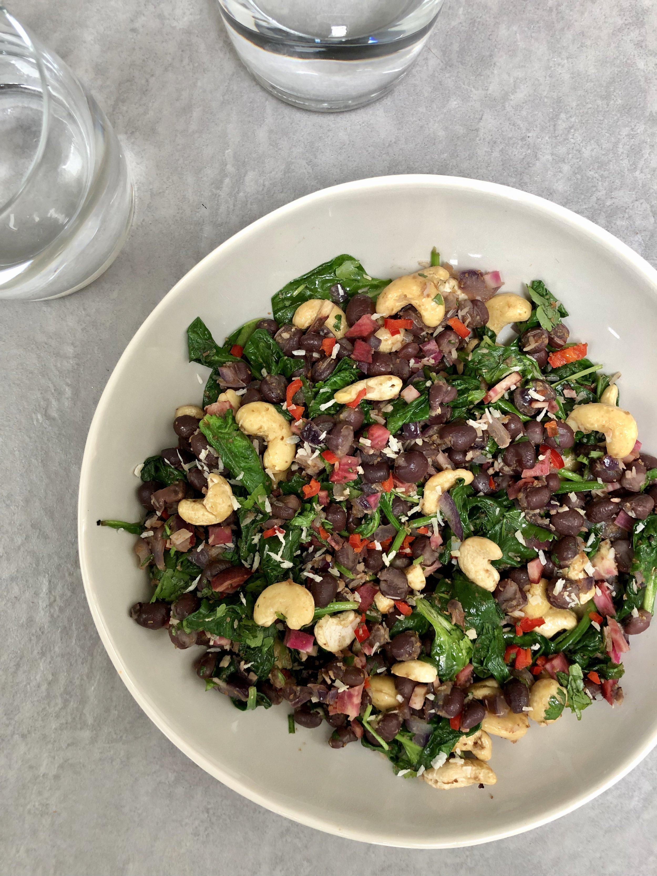 adzuki bean spinach and cashew salad