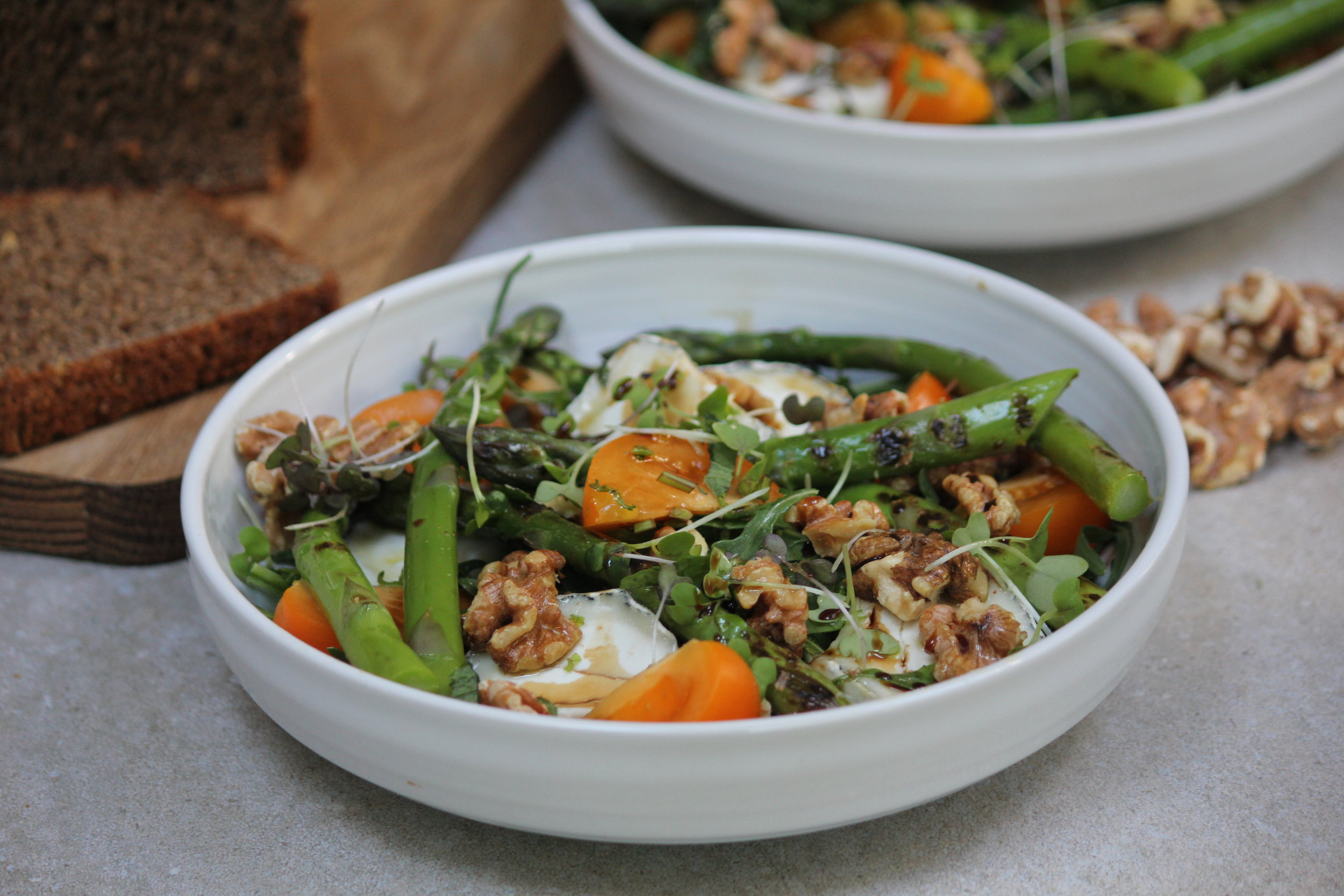 Griddled Asparagus Toasted Walnut and Goats Cheese Salad