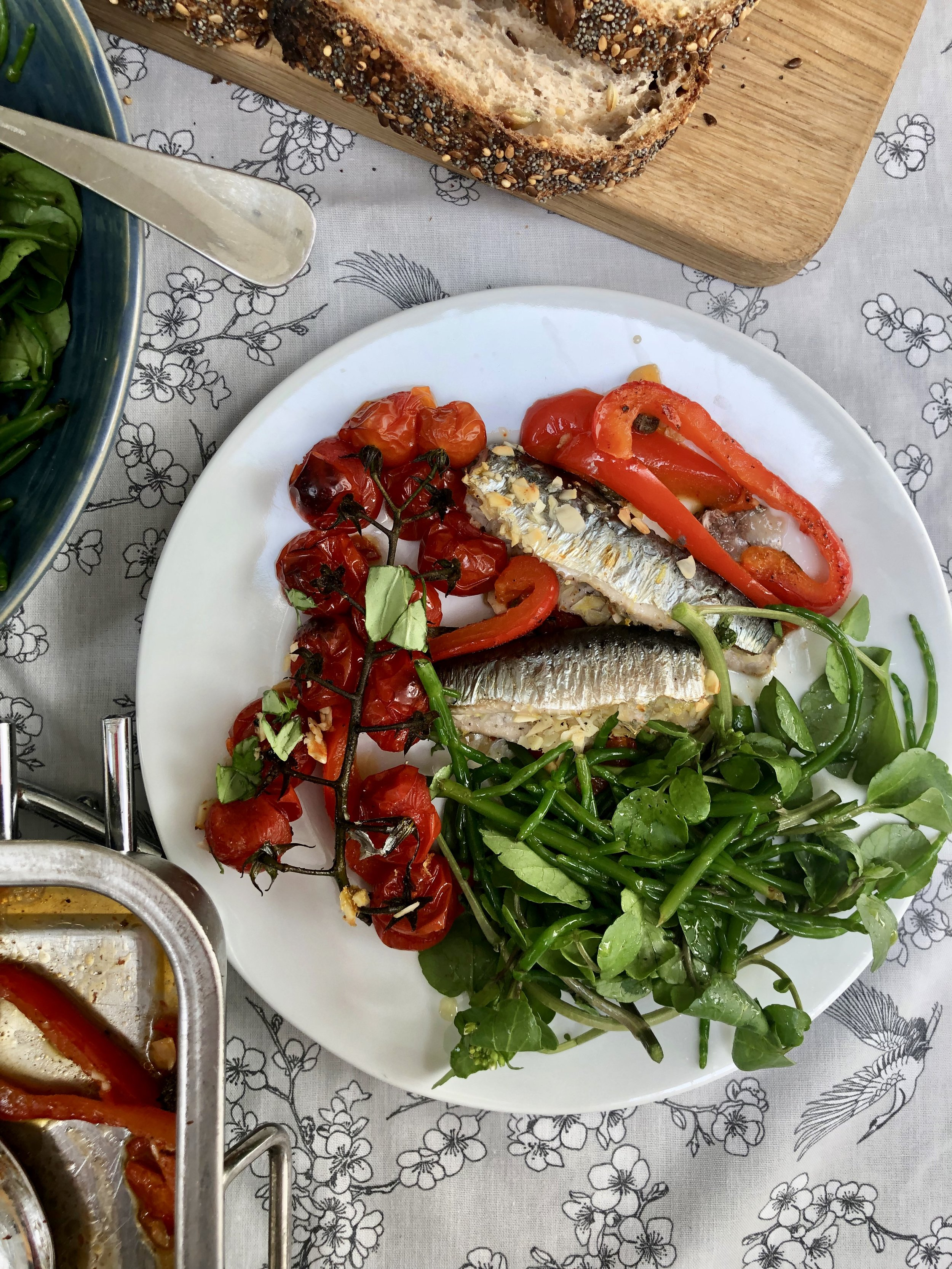 Roasted Tomatoes, Peppers and Capers with Stuffed Sardines, served with Watercress and Samphire Salad and Sourdough