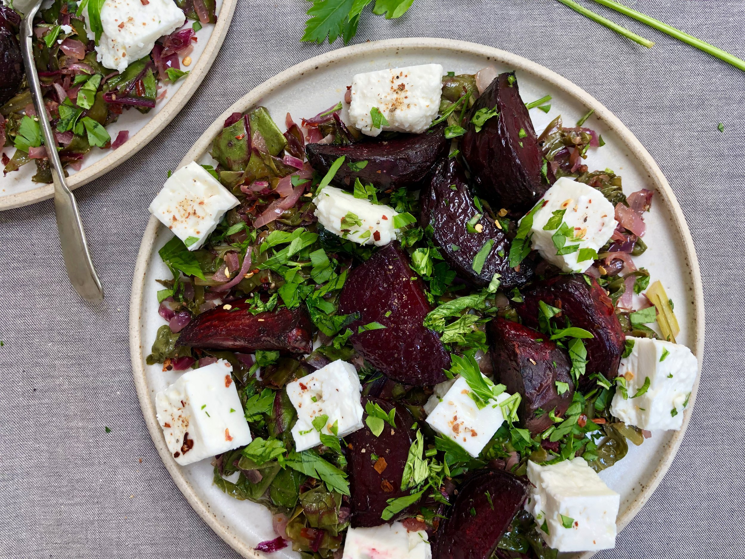 Roasted Beetroot, Wilted Beet Greens, Spinach and Feta