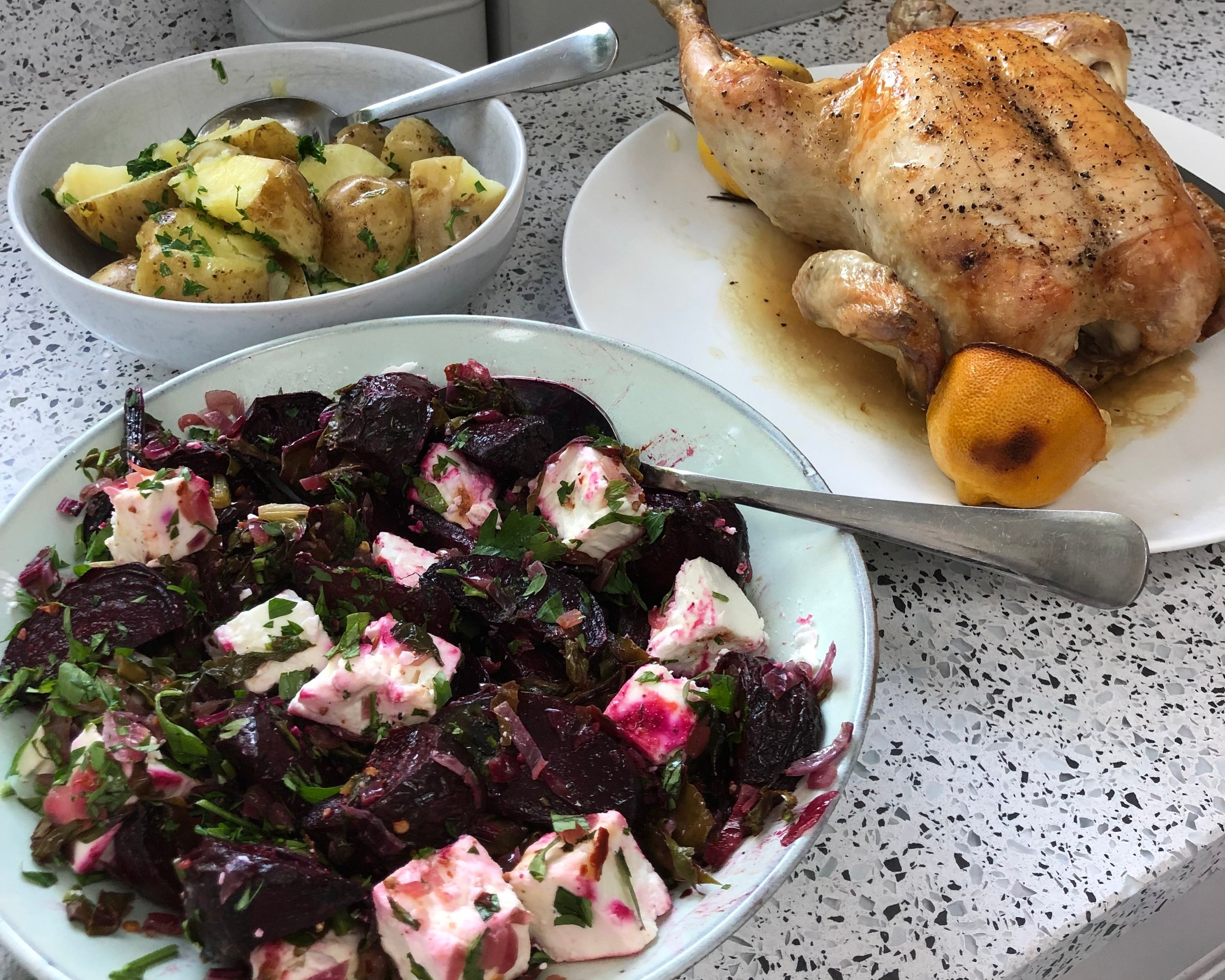 Roasted Beetroot, Wilted Green and Feta Salad served with Roast Lemon and Rosemary Chicken and New Potatoes.
