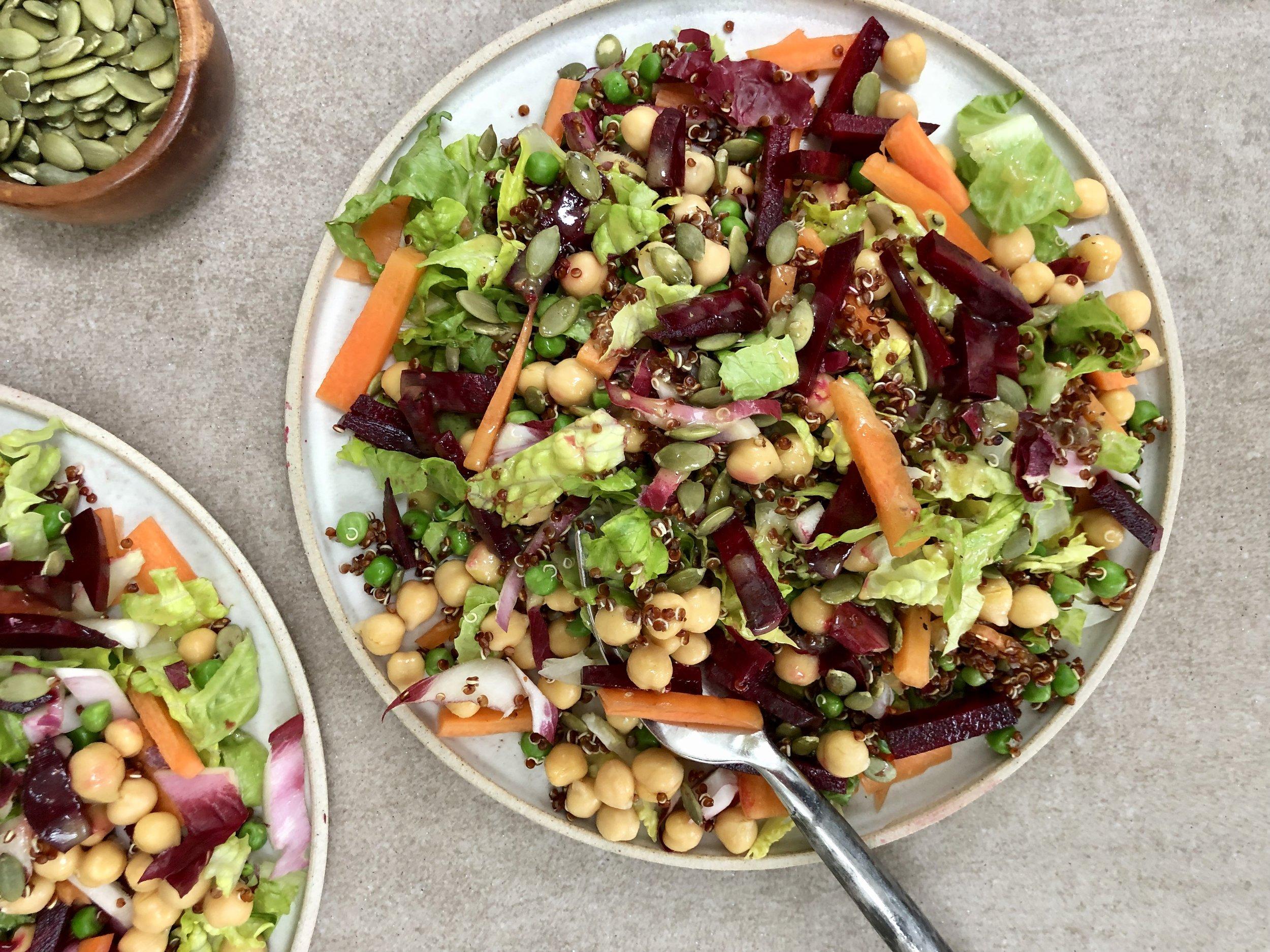 Rainbow Salad with Chickpeas and Quinoa