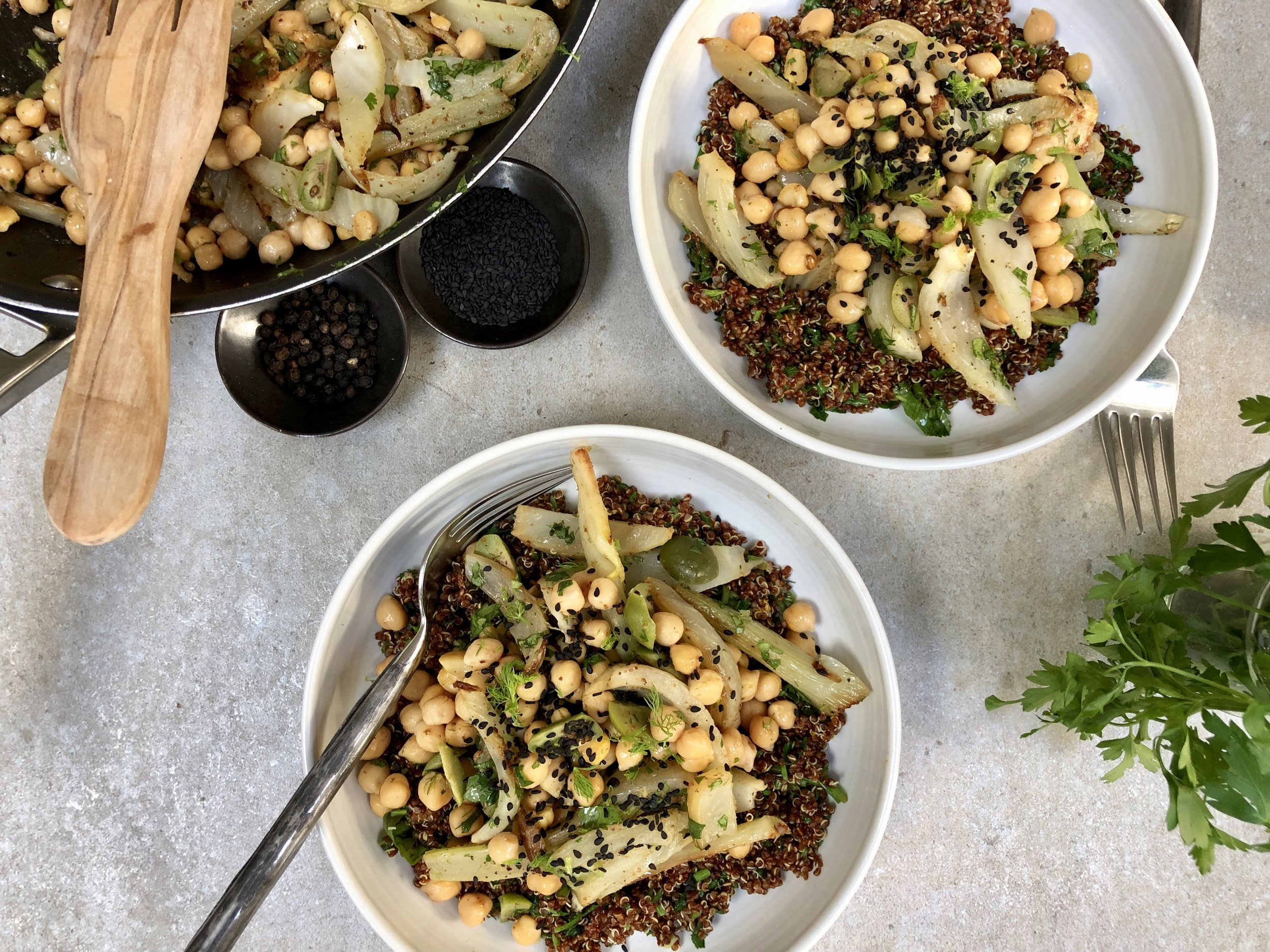 Chickpea, Fennel and Olive Salad with Red Quinoa