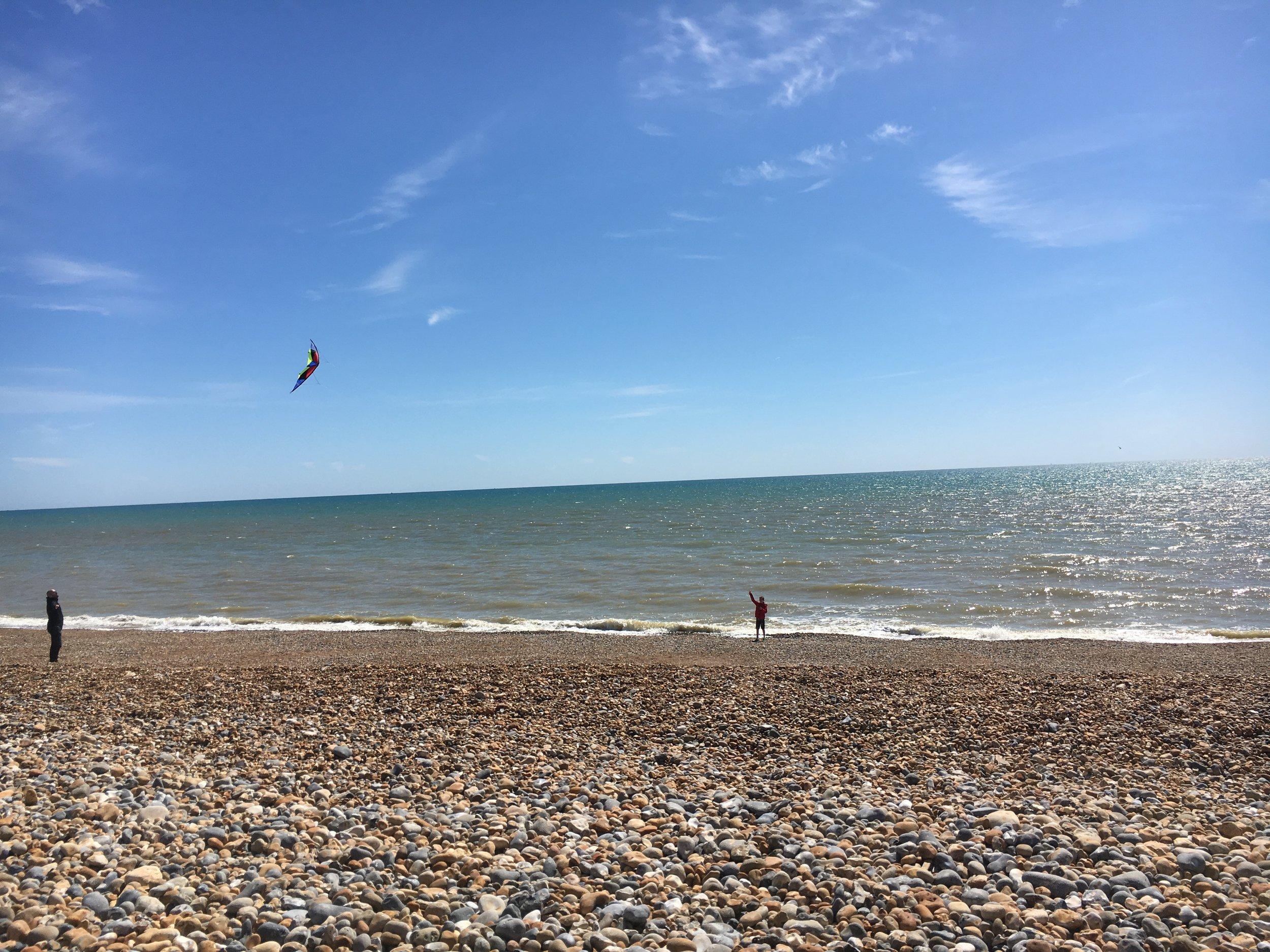 Kite-flying on Hove Beach