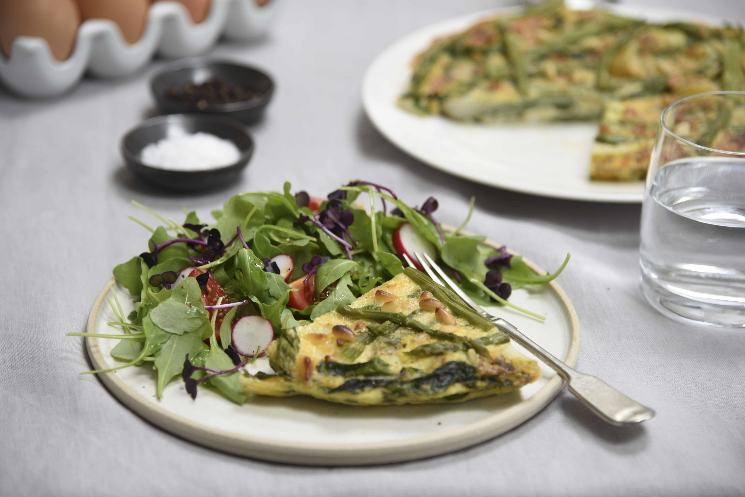 Asparagus & Spring Onion Frittata with Mixed Leaf, Radish & Tomato Salad
