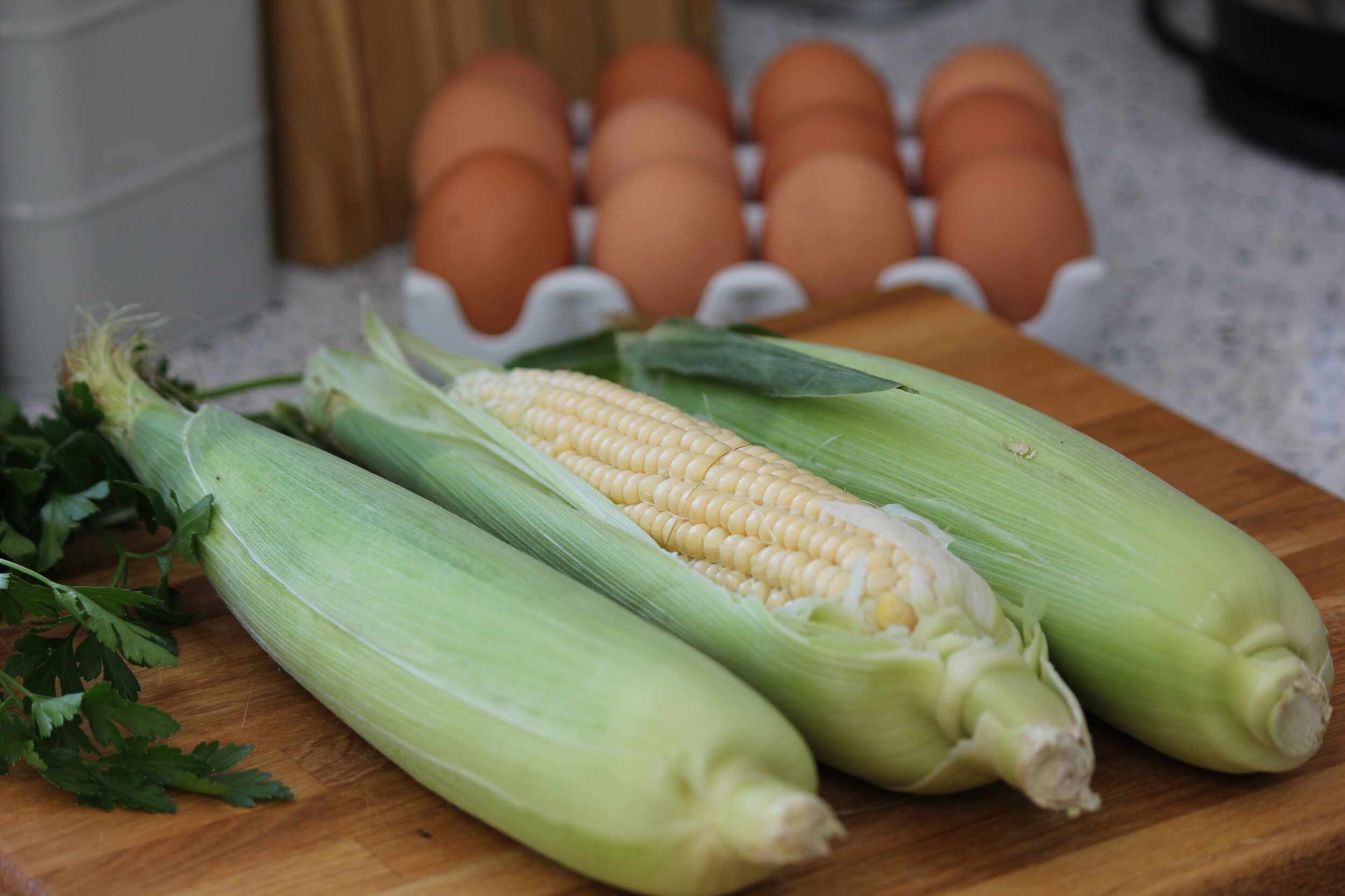 Sweetcorn in their husks