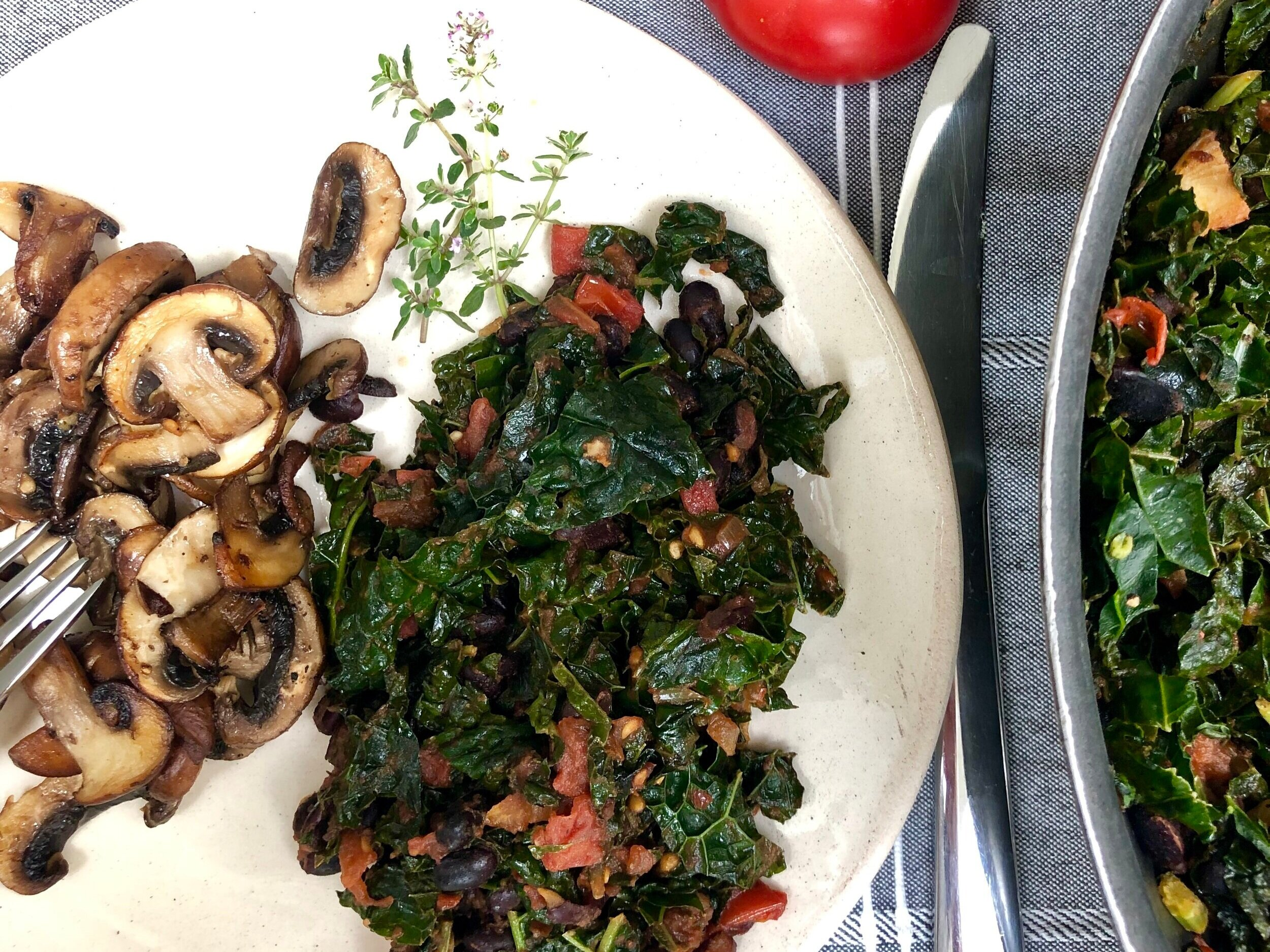 Spicy Greens and Beans with Mushrooms