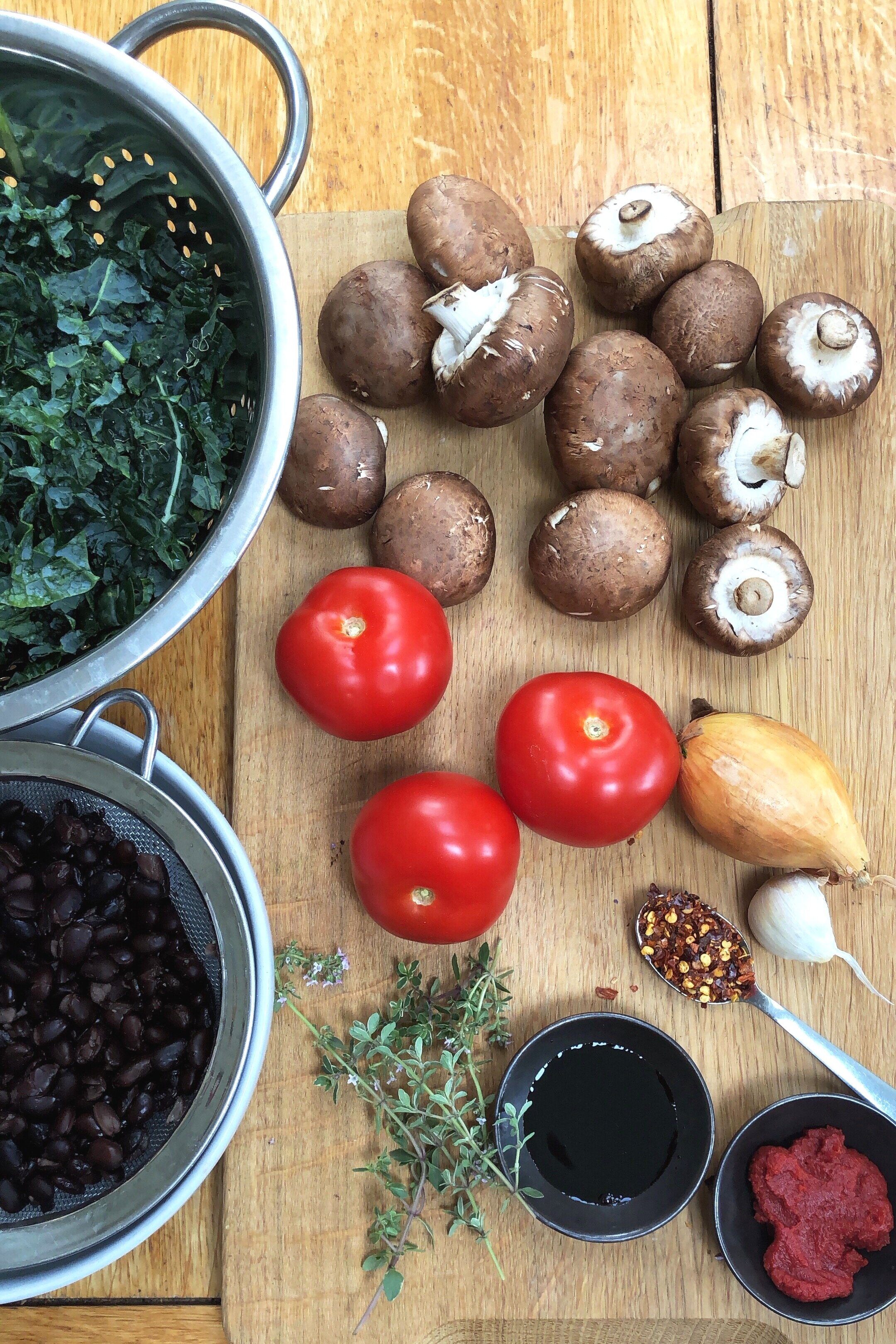 Ingredients for the Spicy Beans, Greens and Mushrooms