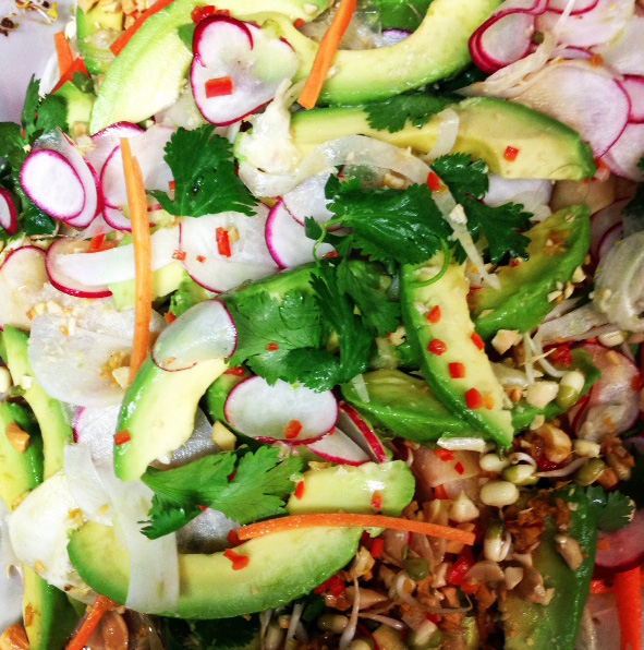 Shaved slaw w fennel, carrot, avocado and radish w alfalfa & mixed sprouts