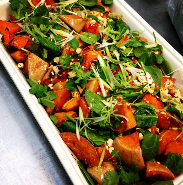 Roasted butternut w peanuts, baby spinach and lime chilli dressing