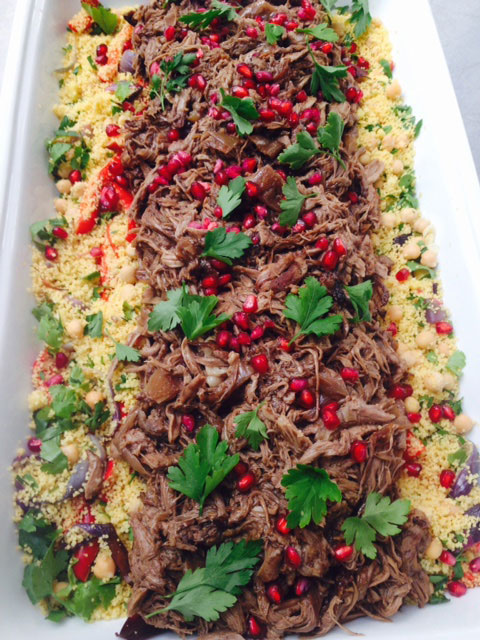 Pulled pomegranate lamb w wholewheat couscous
