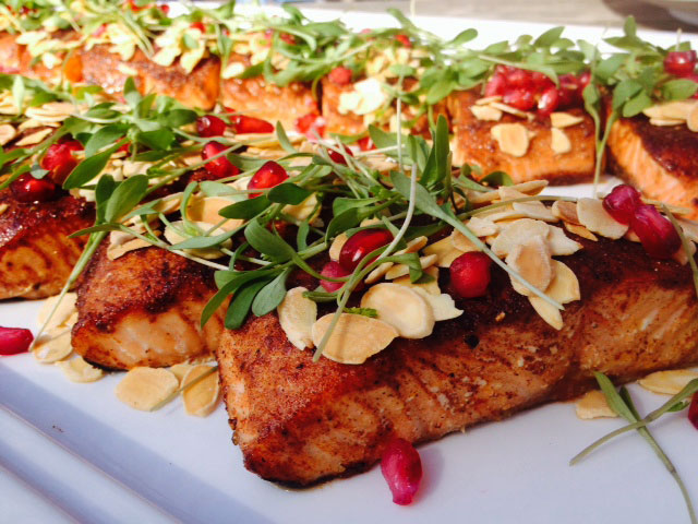 Ras el hanout spiced salmon w almonds and coriander