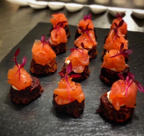 Sweet potato-beet rostis w smoked salmon and dill crème fraiche