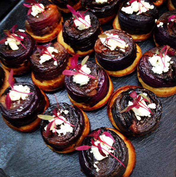 Little caramelised red onion tatins