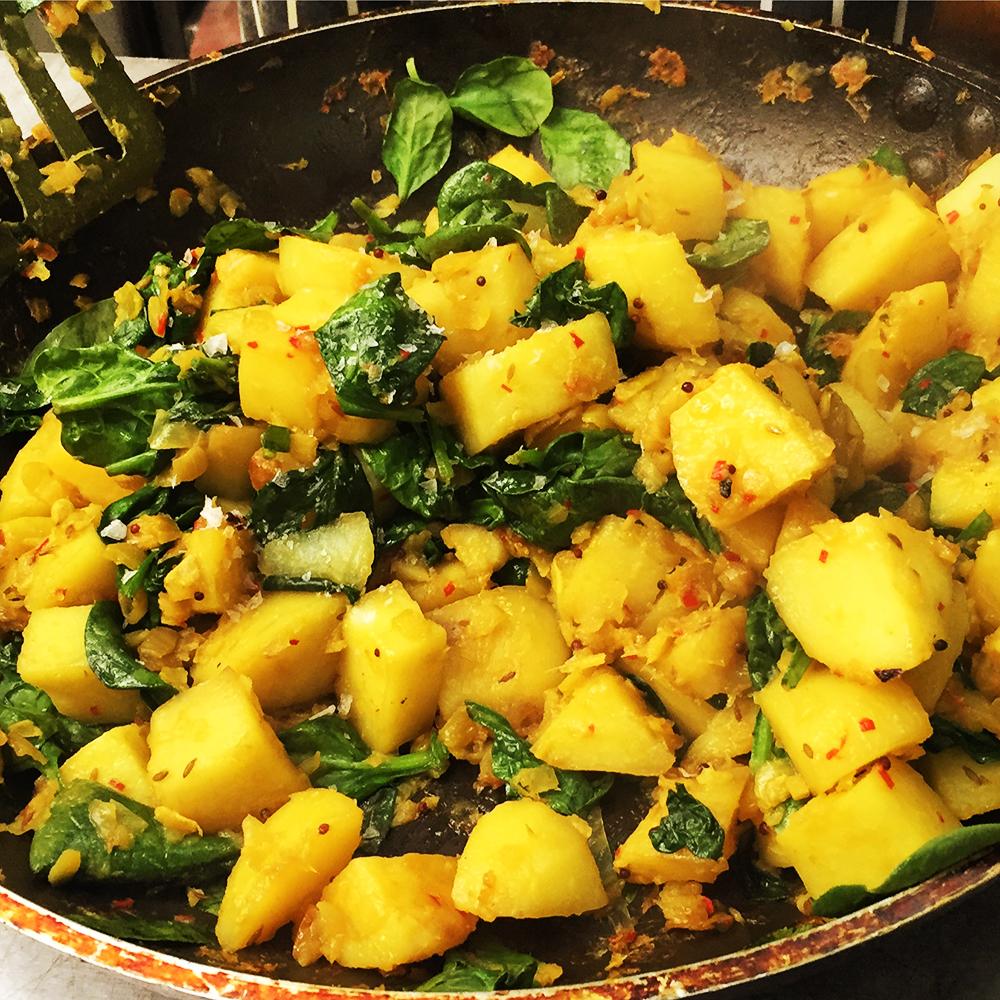 Our sautéed Bombay potatoes