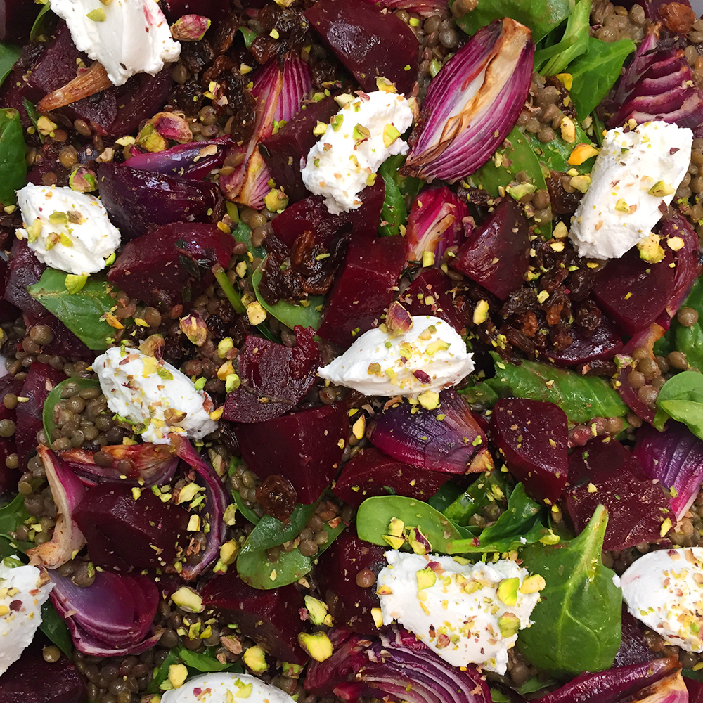 Puy lentils w roasted beets, pink roasted onions, baby spinach, labne and pistachios
