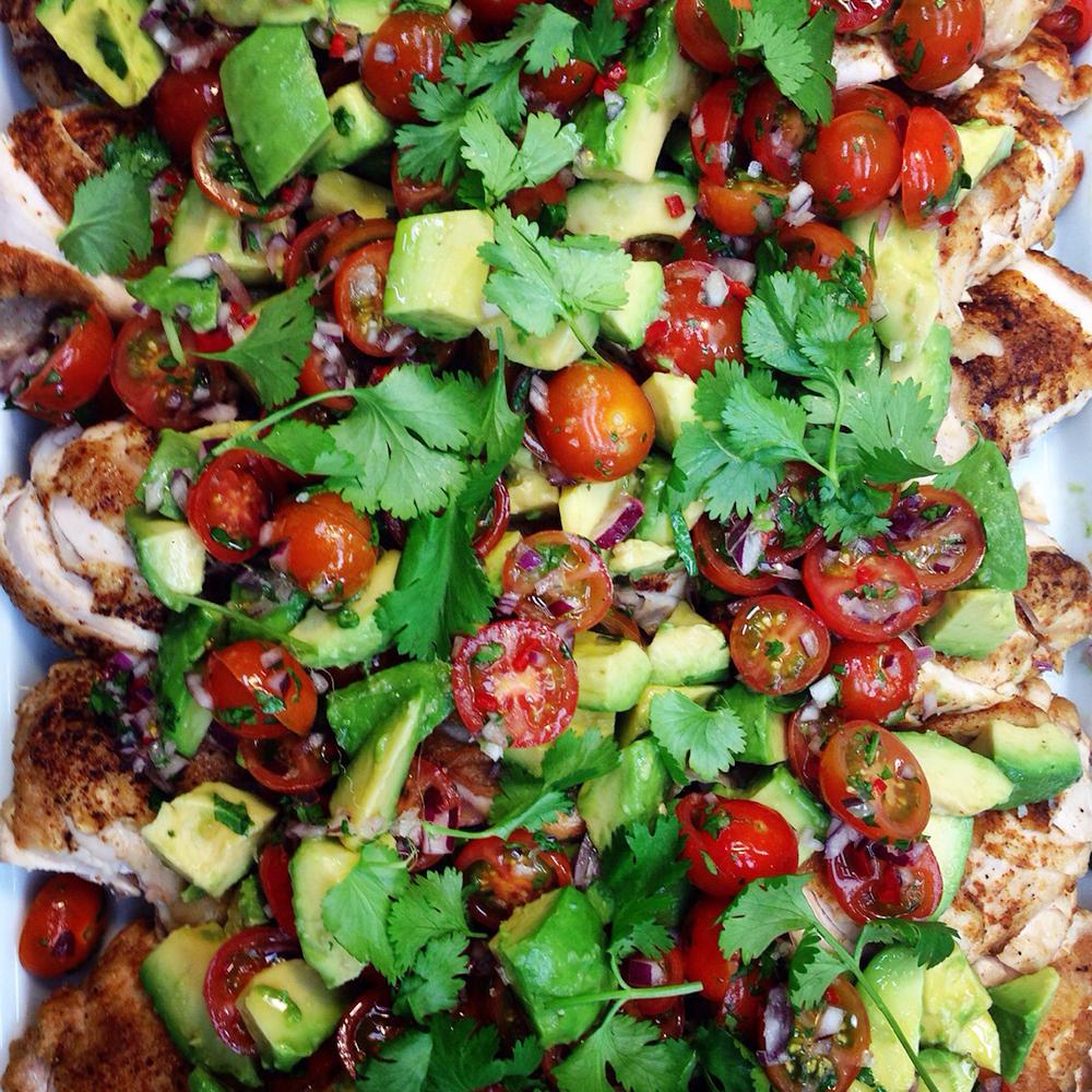 Cajun chicken w avocado and cherry tomato salsa