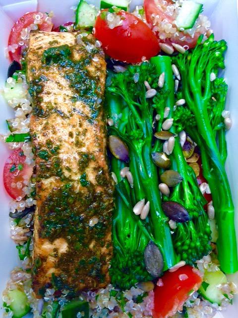 Shawarma Salmon w tenderstem and fatouche tabulé