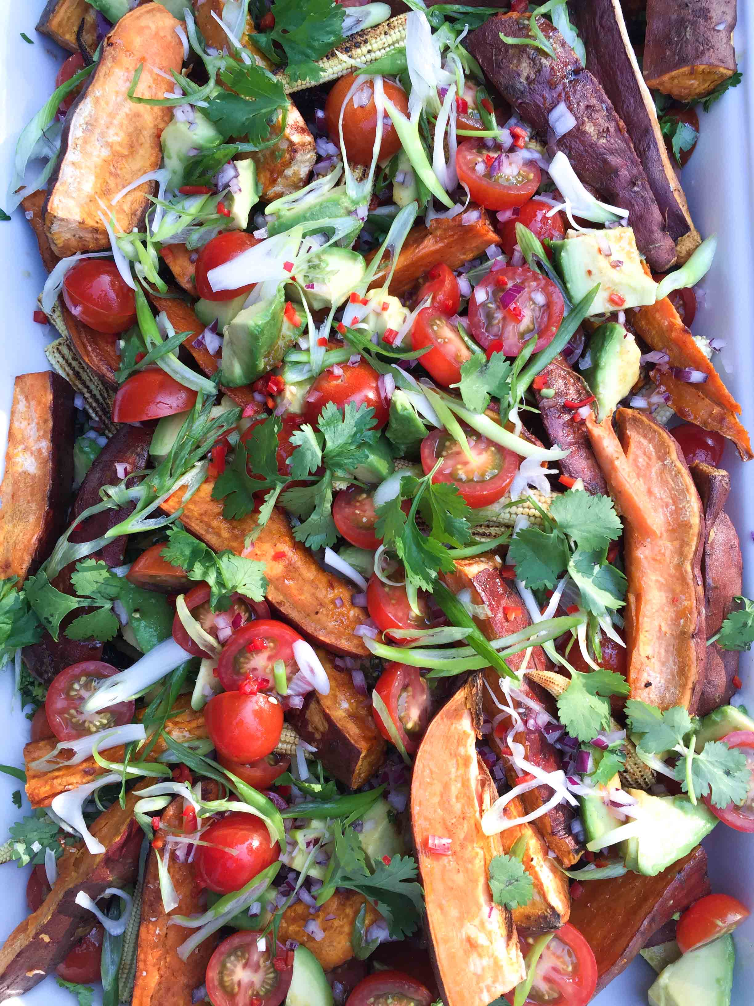 Sweet potato, corn, cherry tomato and avo salad w salsa