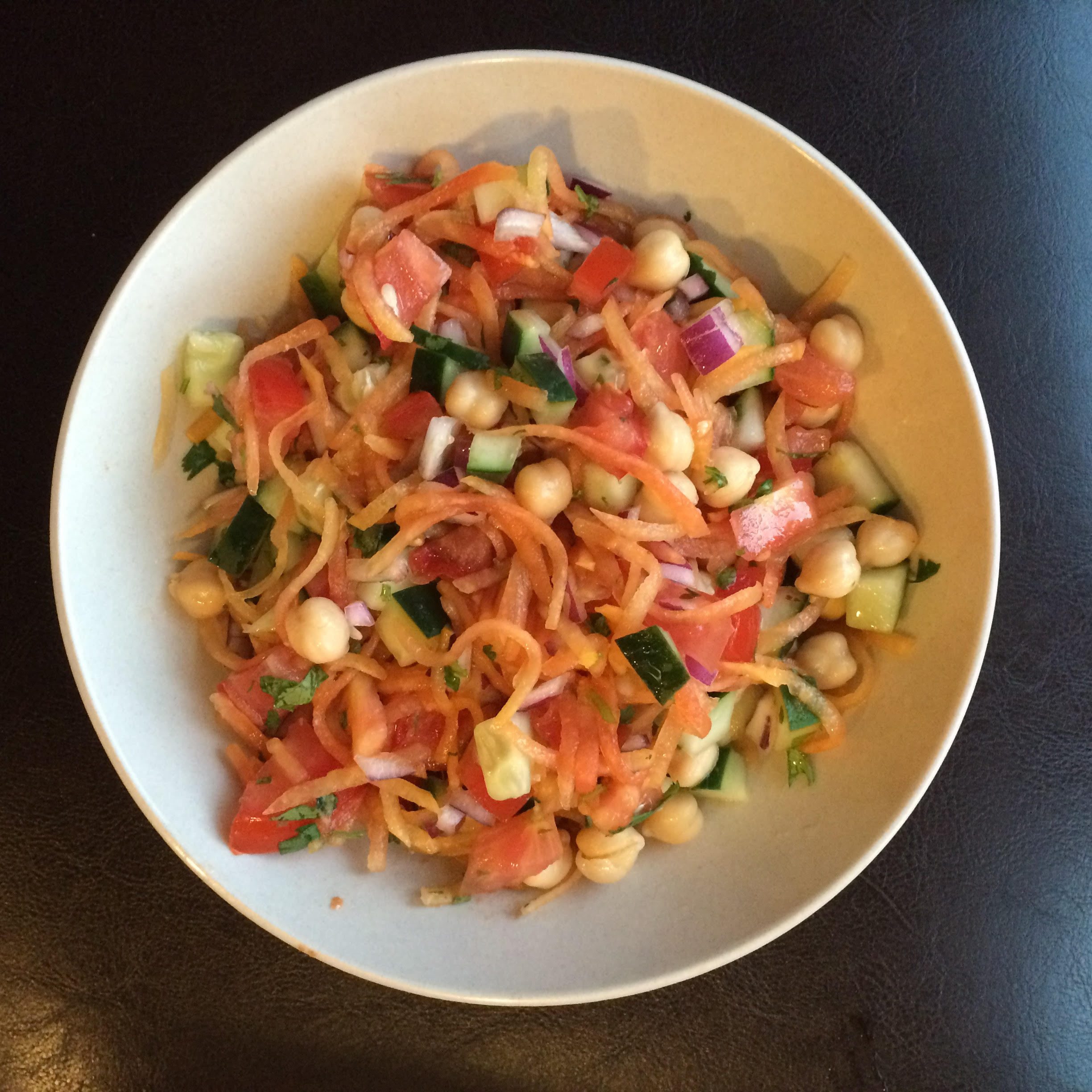 This was MY re-creation of the salad you see above! I've added chickpeas and cucumber to the traditional mix!