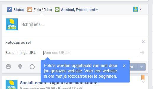 Kies Facebook Carrousel en vul de verwijzende URL in.
