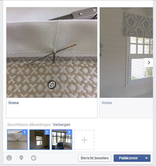 Selecteer en/of verschuif de gewenste foto's. Je klikt hierbij op de foto's die je aan uw bericht wil toevoegen. Kies je maar één afbeelding dan wordt ook maar één afbeelding in uw bericht getoond.