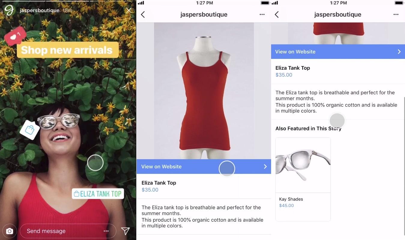 Shopping tags in Instagram Stories zorgen ervoor dat je eenvoudig het product dat in de Story getoond wordt kan kopen.