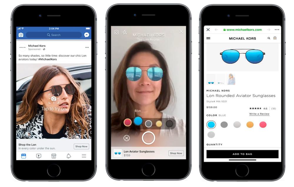 De Augmented Reality ads, momenteel getest door merken als Michael Kors, kunnen onze online shopervaring enorm verbeteren. (Foto via Social Media Today)