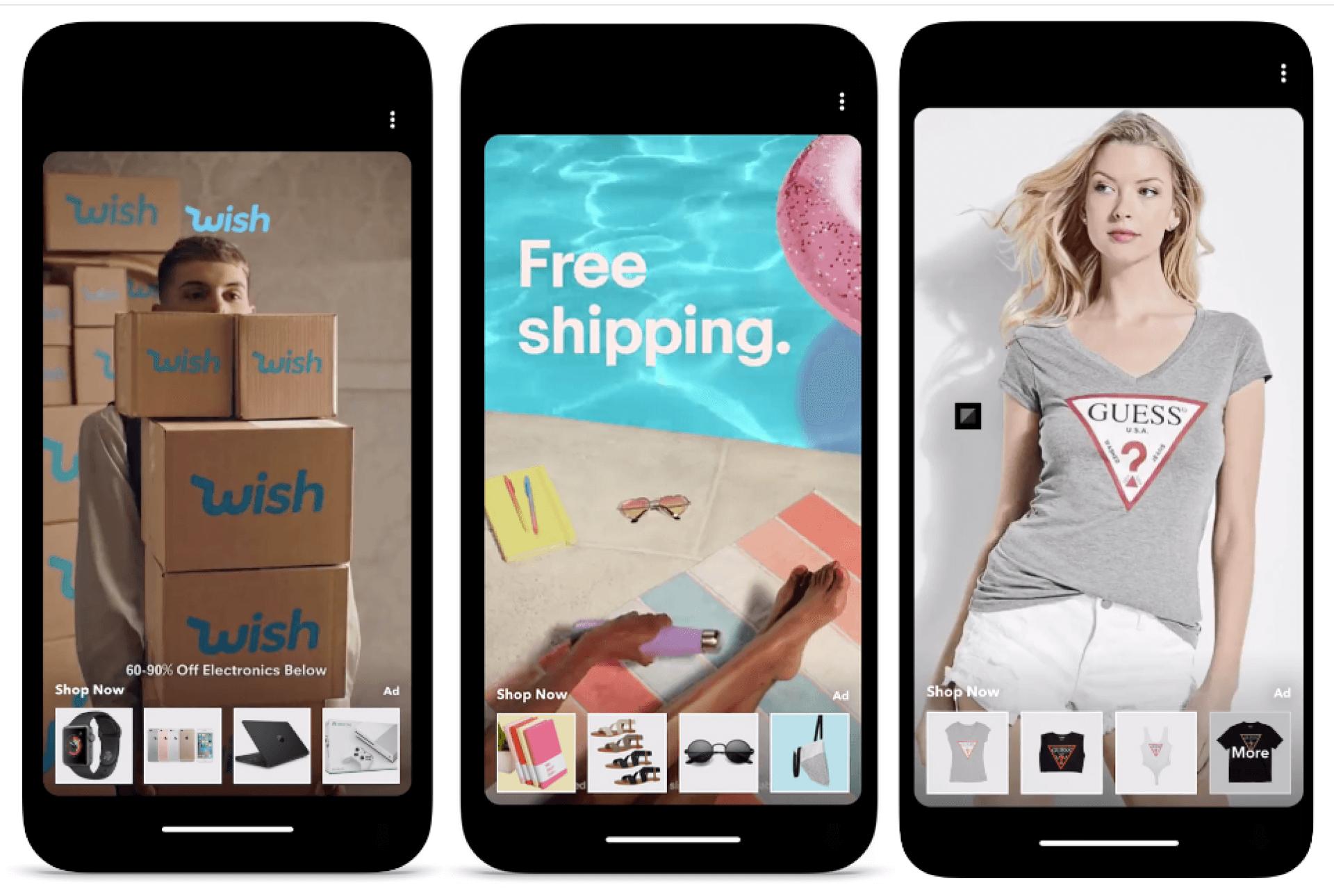 Gebruikers kunnen op de thumbnails in Collection Ads tappen om het product te kopen. (Foto via Social Media Today)